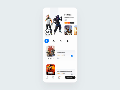 Game Store App strategy platform player store game business illustration clean demo principle animation design card ux app ui