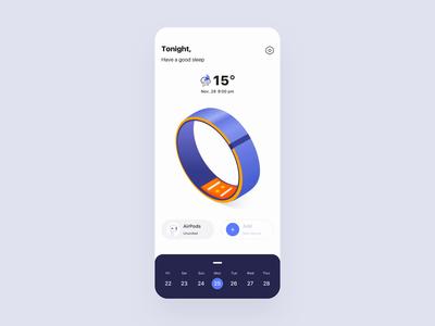 Sleep detector App tracker music statistics menu analytics sleep clean illustration principle animation demo design gif card ux app ui