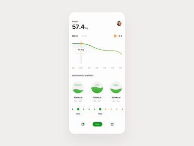 Diet control App store diet nutrition calories menu cooking control food and drink food clean principle animation demo design gif card ux app ui