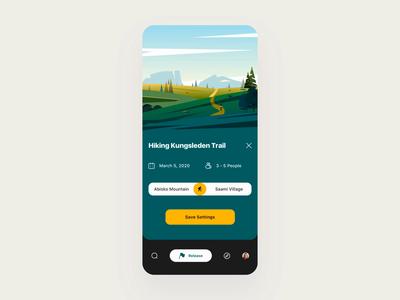 Hiking App traveling steps plan travel hiking icon illustration tourism principle demo animation design card ux app ui