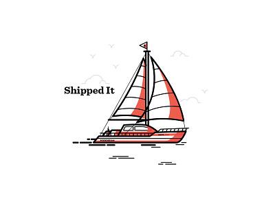 Shipped It lee jane design branding boat recognition delivery badge illustration