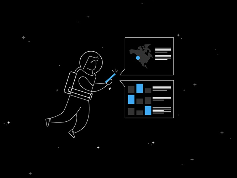 Space Man Analytics clean character concept design illustration data maps space analytics