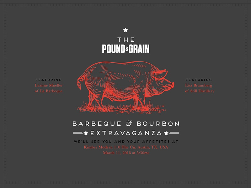 Barbeque Invitation restaurant grey illustration red design type pig drinks food bbq badge invitation