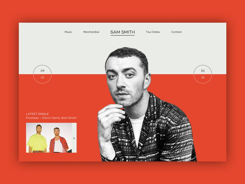 Sam Smith // Music Series music ux ui web design layout clean color website design