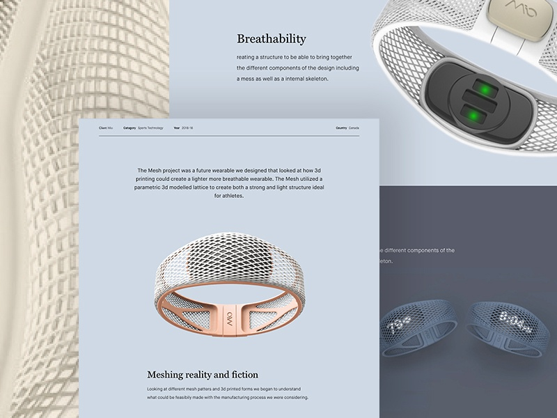 Mio Mesh product design landing page web page web design web desktop portfolio interaction ux ui design