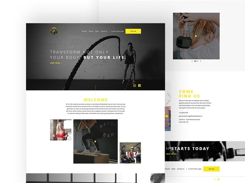 Fitness Studio Website web design ux ui desktop web design