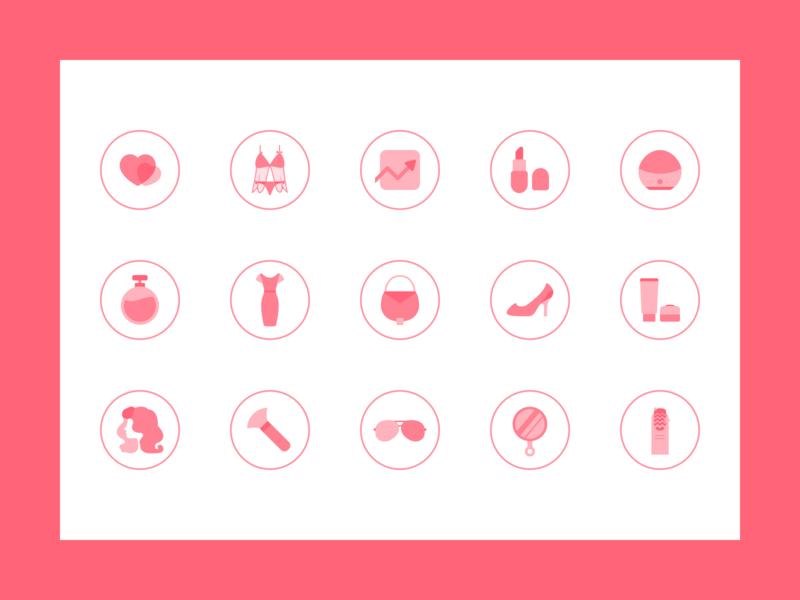 Beauty Makeup Icon Design card colour 图标 logo icon design ux app ui