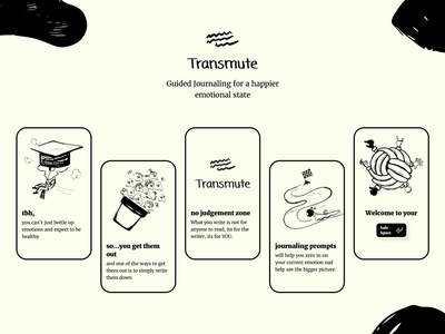 Transmute - Guided Journaling for a happier emotional state stoic ui ux