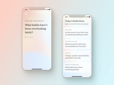 Guided Journaling App | Lihght minimal iphone stoic typography design ux ui