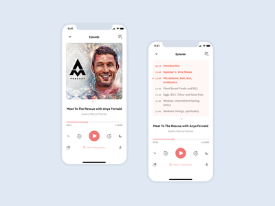 Podcast App with Show Notes podcast minimal iphone typogaphy ux design ui