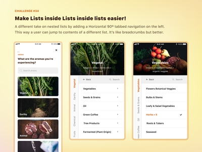 Make rabbit hole lists easier to navigate [Challenge] aroma wheel iphone nested list typogaphy ux design ui