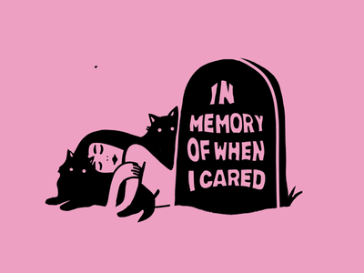 Used to care tomb pink black woman girl cats death stone memory