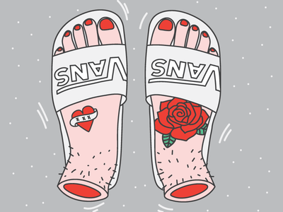 Vans for fans red nails tattoos roses blood fingers shoes slides feet foot vans