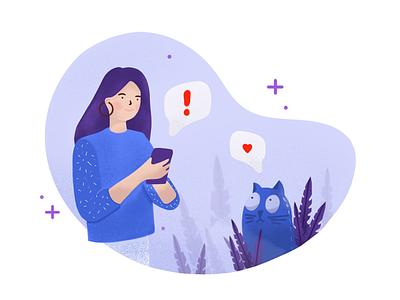 Notification leafs blue purple girl cat character notification