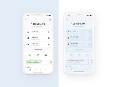 Skeuomorph crypto banking dashboard