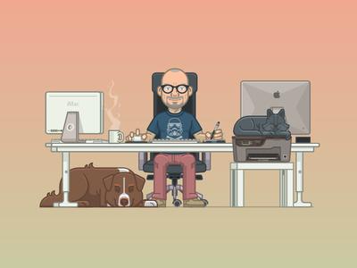 Hello, I'm Damien flat design animation illustration self-portrait