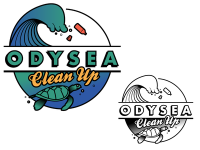Odysea Logo enviromental sea bw color sketch logo