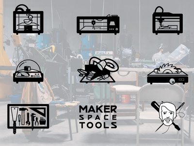 Icon for Makerspace table saw test lab 3d printer soldering laser cutting cnc makerspace tools