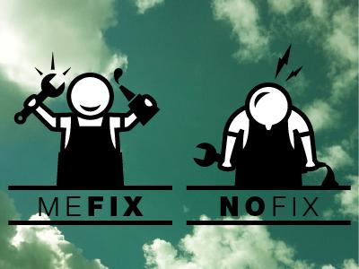 Mefix Nofix icons pictograms logo vector illustration