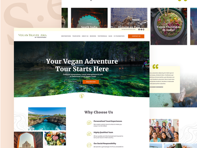 Vegan Travel Homepage vegan ui landing page design webdesign homepage