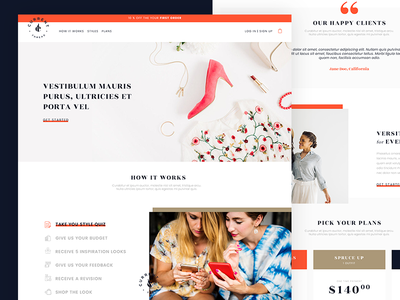 Fashion Monthly Subscription fashion website concept landing page design webdesign homepage