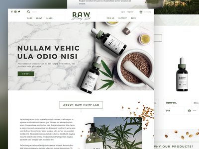 Hemp Health Products Homepage beauty vegan webdesign homepage ecommerce organic hemp health