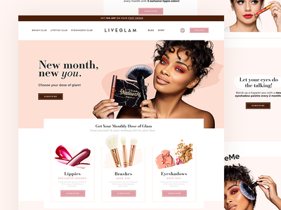 Monthly Beauty Box Homepage Design makeup beauty design landing page homepage