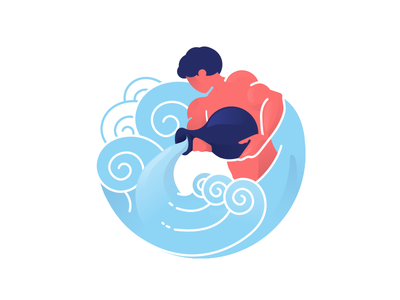 Aquarius man water aquarius magazine editorial vector character illustration zodiac signs