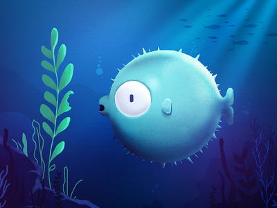 puffed puffer sea plant character brushes illustration animation style frame puffer fish