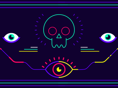 Hypnotize fluo neon eye eyes scull outline lifework graphics rub 2d