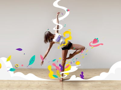 Feel the rythm notes smoke rhythm dance music illustration frame by frame cell style frame