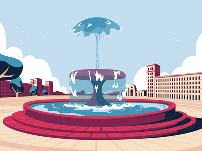 Fountain for AMEX square water plaza fountain style frame animation american express amex