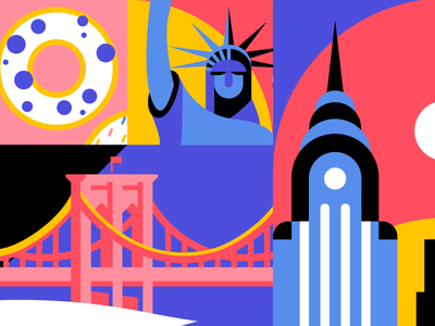 New York MarcJacobs statue of liberty empire state building illustration nyc bridge taxi donut brooklyn marc jacobs