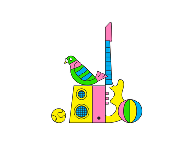 faze roof party '18 speaker beach ball tennis vector illustration guitar pigeon