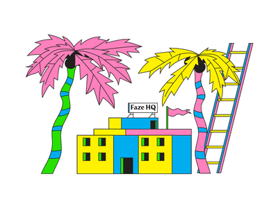 faze roof party '18 ladder flag vector party building office illustration summer tree palm