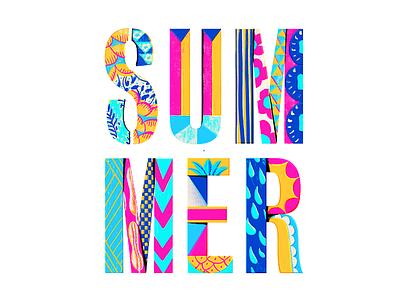 Summer vacation break design faze lettering typography summer