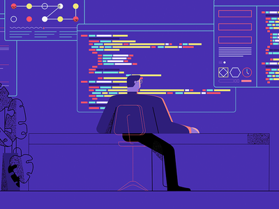 Process Data charachter design chair plant code computer man character animation illustration styleframe