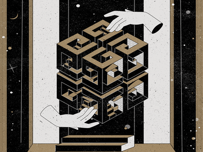 Givenchy poster stairs escher cube hands stars zodiac alchemy poster givenchy