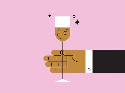 HNY from faze toast glass vector champagne hand illustration year new happy hny
