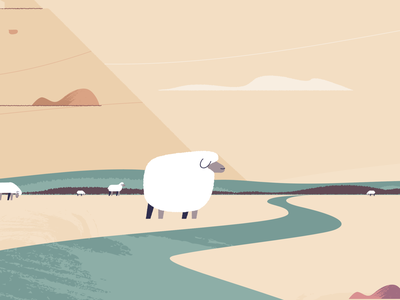 fat sheep can't jump clouds animal animation river farm herd sheep brushes illustration