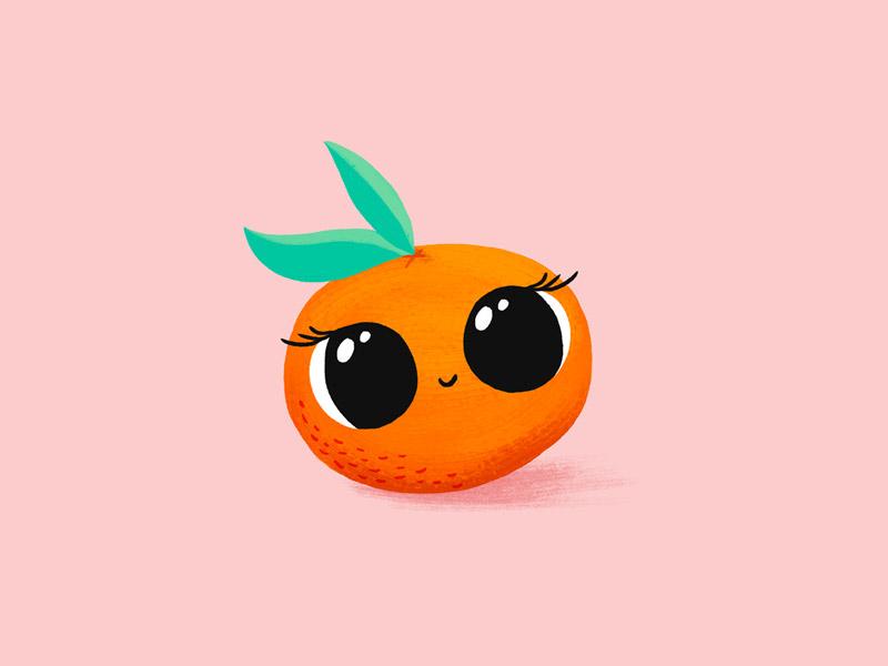 Baby Clementine leaves girl children kids fruits clementine illustration fruit baby character orange