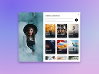 Unsplash Add to collection redesign