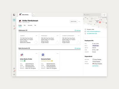 User Profile employee people profile tabs sidebar user profile