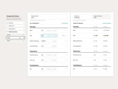 Template Builder admin webapp structure salary pay template builder template