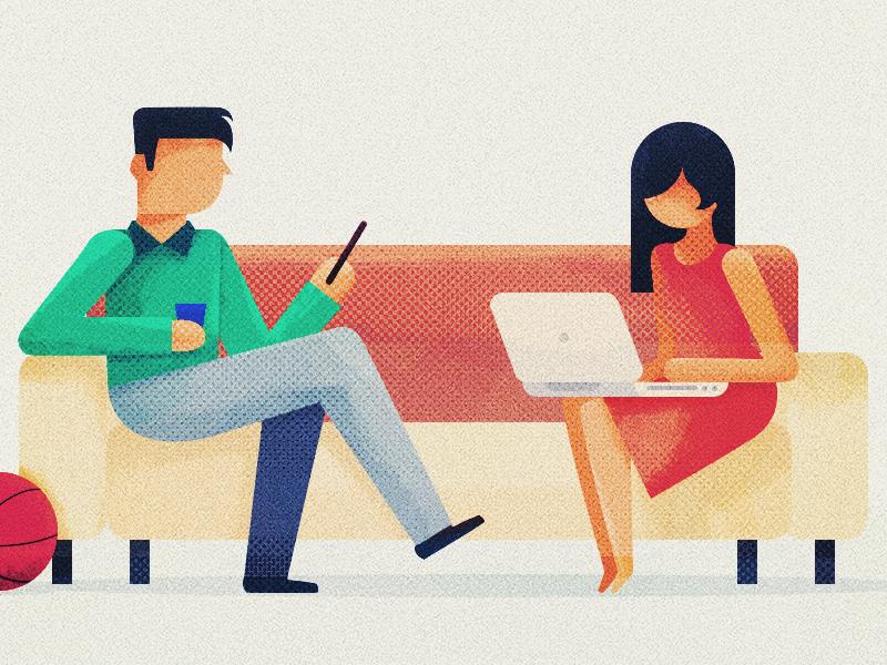Office scene photoshop illustration experiment office kayako