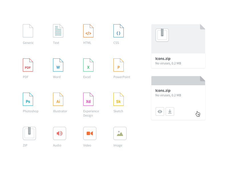 Attachment Icons by abhi for Kayako on Dribbble