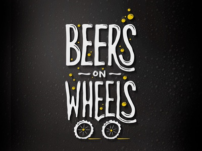 BeersOnWheels logo bubble white logo beer beerbike wheels typography funky custom type yellow black