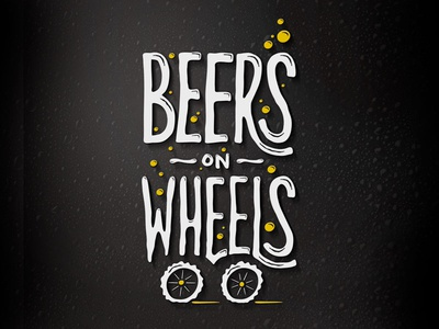 BeersOnWheels logo bubble white logo beer beerbike wheels typography funky custom type yellow black