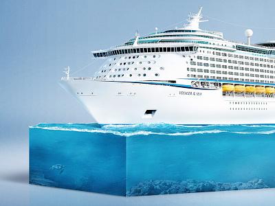 Cruise Ship Infographic II. blue ocean sea retouch ship cruise infographic