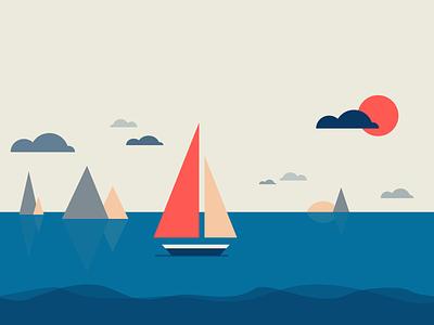 ⚘ Minimalistic llustrations ⚘ Boats at sea sea boat design flat minimalism inspiration colors illustrations geometric illustration abstract color minimal art